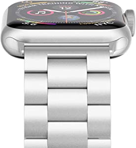 Wolait Compatible with Apple Watch Band 40mm 38mm, iWatch SE Series 6/5/4/3/2/1 Stainless Steel Replacement Bracelet Band 38mm- Silver