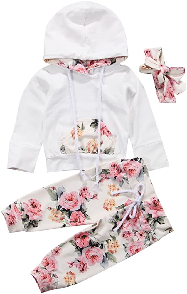 Pollyhb 2Pcs Baby Clothes Boys Girls Flower Print Ear Long Sleeve Hooded Tops Sweatshirt Pants Infant Outfits Sets Suits