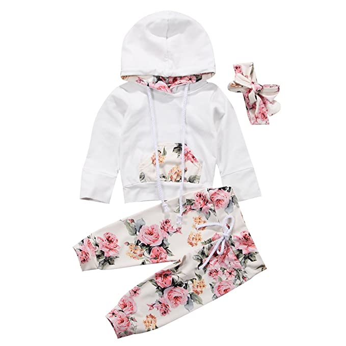 a131fdcb1dcc0 BiggerStore 3Pcs/Set Infant Baby Girl Long Sleeve Hoodie Tops+Floral Pants +Headband