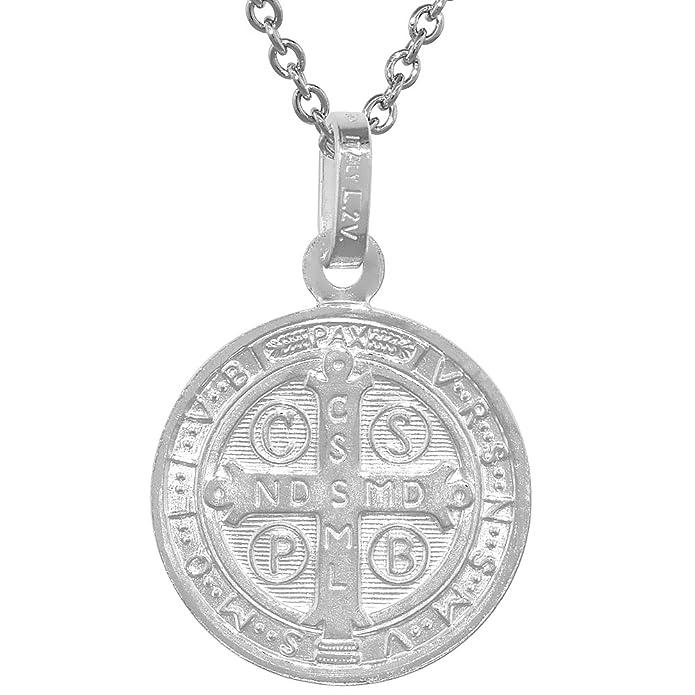 Amazon.com: Medalla de San Benito de plata de ley 3/4 ...