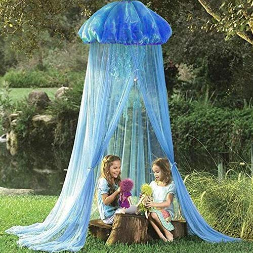 LAYOPO Jellyfish Bed Canopy Mosquito Net, Princess Baby Crib Mosquito Netting Dome Kids Play Tent Reading Nook Castle Games House for Baby & Kids & Girls - Easy to Install (Blue)