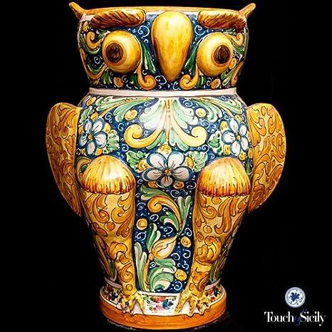TOUCH de Sicilia, italiano, florero de cerámica hecha a mano, diseño de búho paraguas soporte.: Amazon.es: Hogar