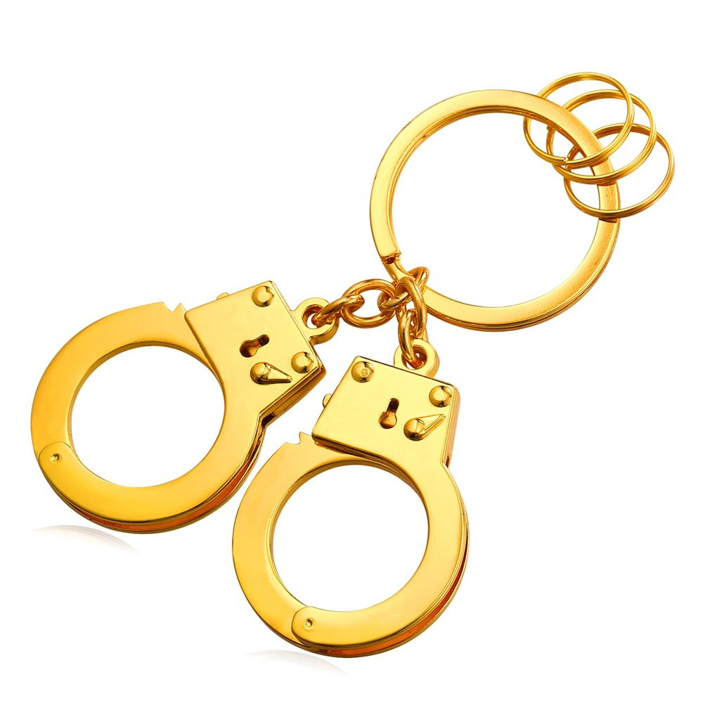Cool Handcuffs Key Tag Alloy Keyrings Men Car Key Rings(3 Colors:Platinum,Gold,Black) K2307H