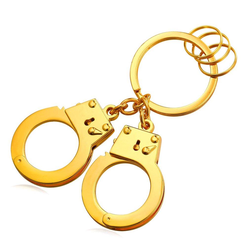 Cool Handcuffs Key Tag Alloy Keyrings Men Car Key Rings(3 Colors:Platinum,Gold,Black) K2307H