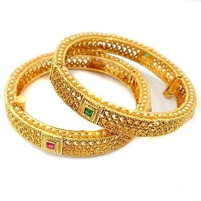 18k Gold Plated Fashion Bangle Bracelet Open Screw Bangles Set Of 2 Ethnic Style Jewelry & Watches Engagement & Wedding