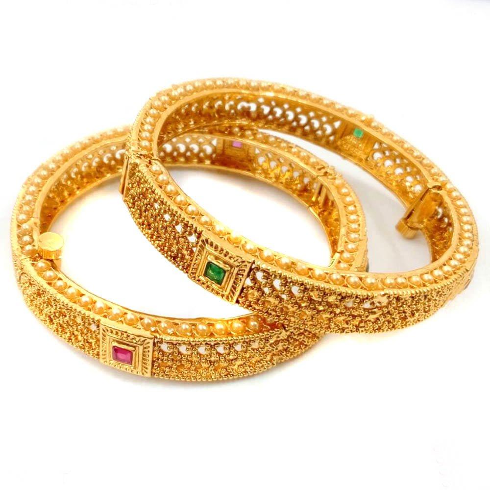 Joyeria Zircon Fashion New Bollywood Style Gold Tone 2 Pc Open Screw Bangles Indian Ethnic Jewelry (2.8)