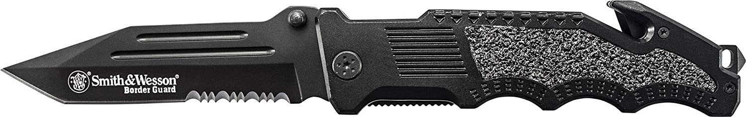 Smith & Wesson Border Guard High Carbon Folding Knife with 4.4 inch Serrated Tanto Blade and Aluminum Handle for Tactical, Survival and EDC