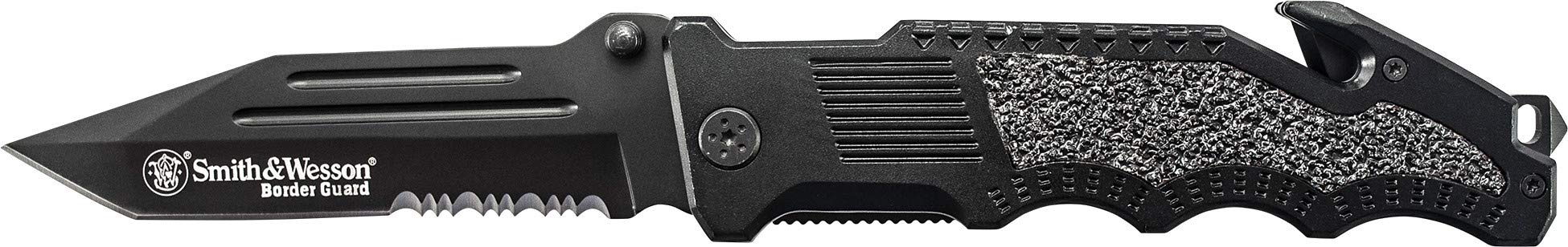 Smith & Wesson Border Guard SWBG2TS 10in High Carbon S.S. Folding Knife with 4.4in Serrated Tanto Blade and Aluminum Handle for Tactical, Survival and EDC by SMITH & WESSON