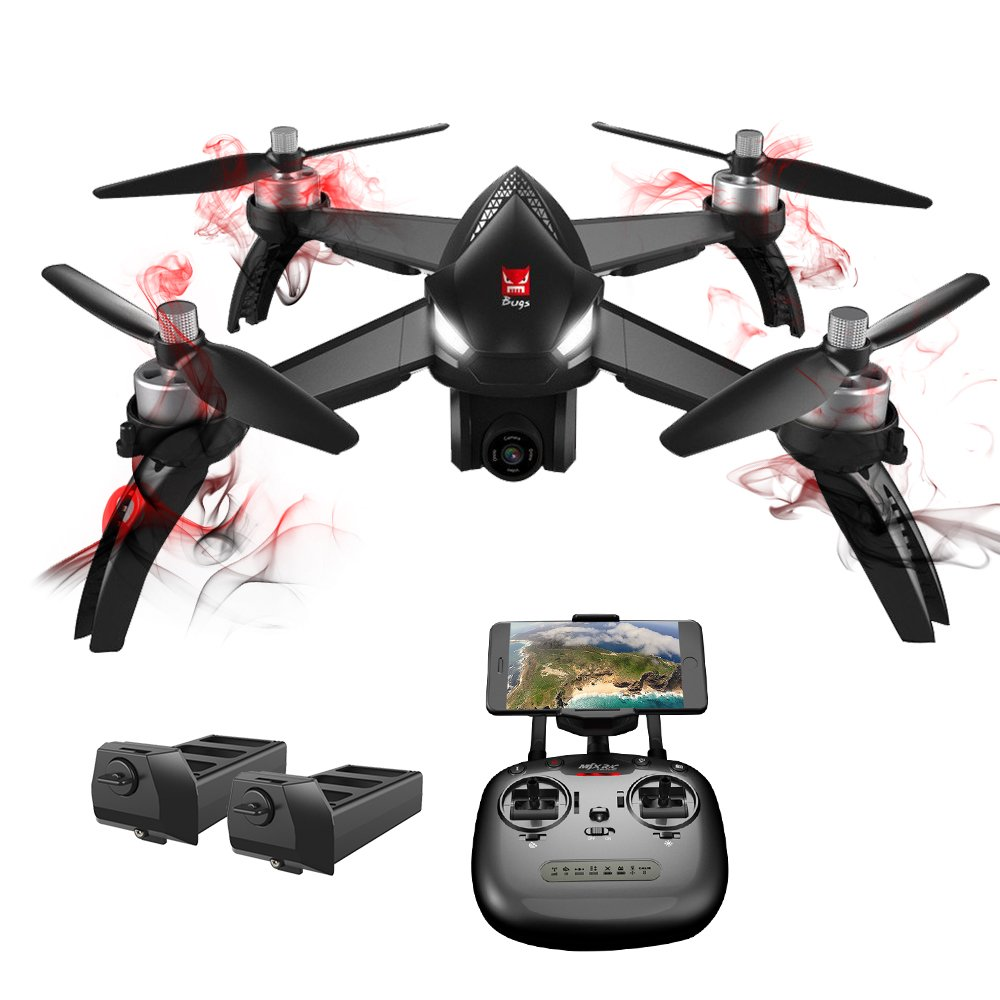 GooDGo MJX Bugs 5W Quadcopter RC Drone with APP Control, 1080P 5G WiFi HD Camera, 2 Batteries, GPS, RTH, Follow Me,Point of Interest, Waypoint Flight Mode, Altitude Hold 6-Axis Gyro Aircraft (Gray)
