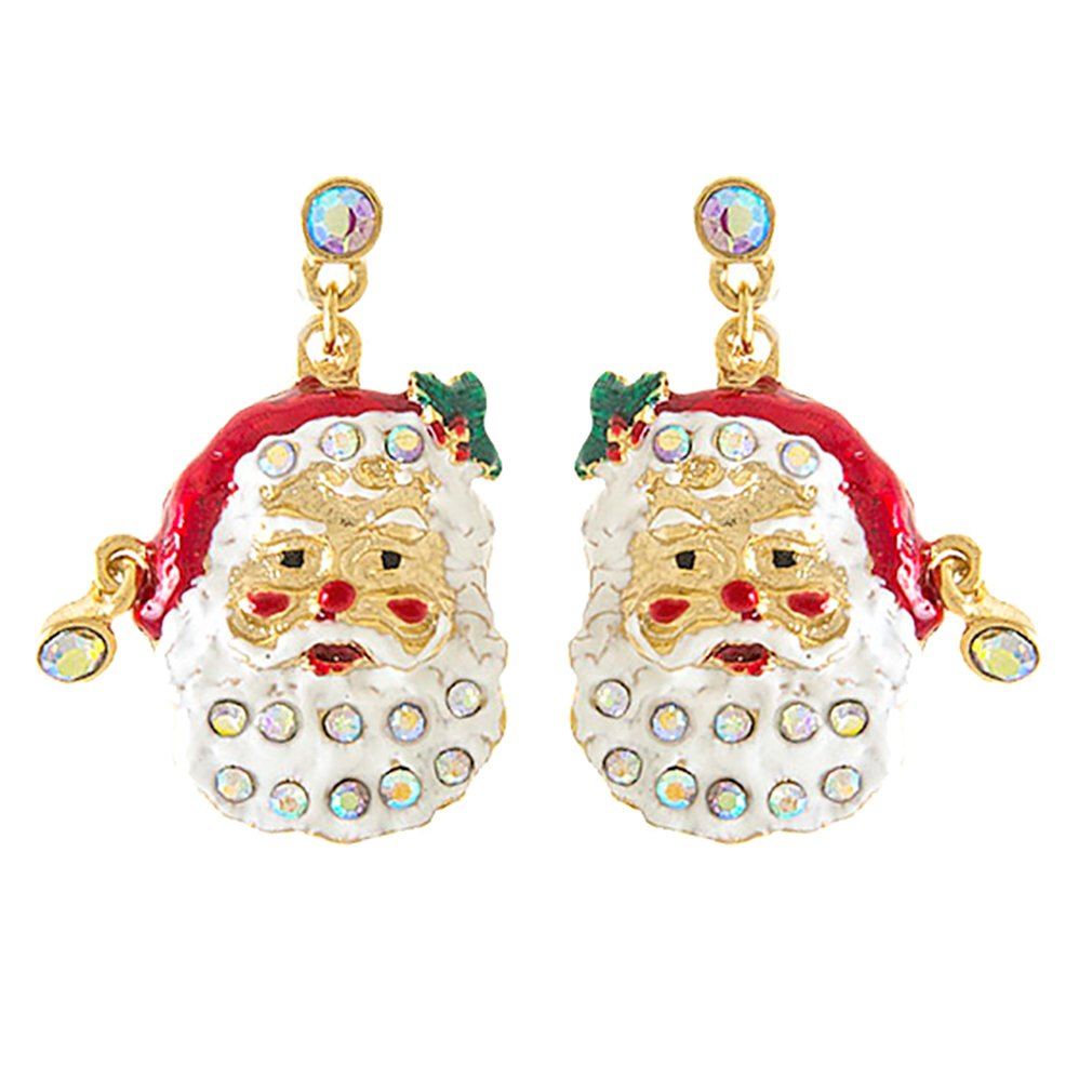ACCESSORIESFOREVER Christmas Jewelry Holiday Crystal Happy Santa Claus Dangle Earrings E1153 Gold