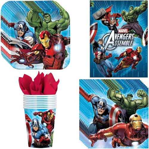 Avengers Party Supplies Pack Including Plates, Cups, Napkins and Tablecover - 8 Guests