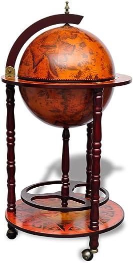 vidaXL 40 Wood Globe Wine Bar Stand 16th Century Italian Rack Liquor Bottle Shelf