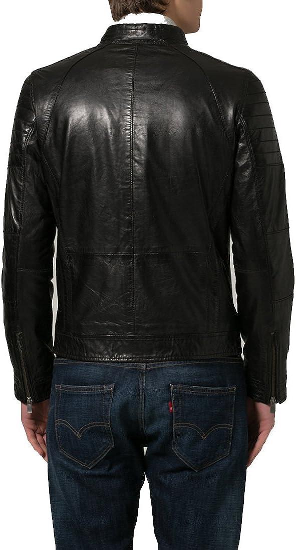 Mens Genuine Lambskin Leather Jacket Slim Fit Moto Biker Jacket T336