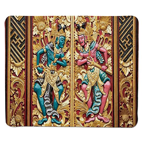 Mouse Pad Unique Custom Printed Mousepad [ Balinese Decor,Temple Door in Indonesia with Traditional Carved Golden Leaves Flowers Patterns,Gold Brown ] Stitched Edge Non Slip Rubber -