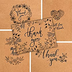 50 Thank You Cards - Kraft Paper Bulk Note Cards - Perfect for Your Rustic Wedding, Baby Shower, Business, Graduation, Bridal Shower, Birthday, Engagement