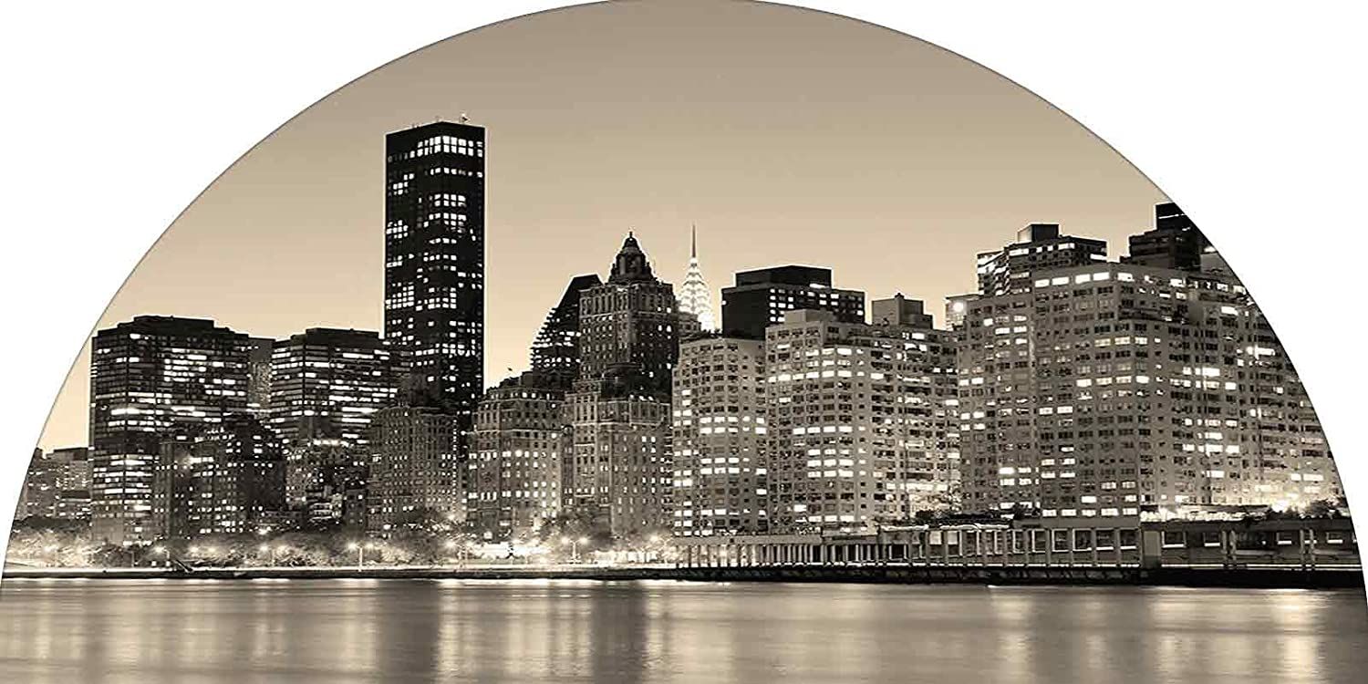 New York Frosted Privacy Arched Window Film, Manhattan Skyline at Night East River Panoramic Famous City Urban Life in USA Decorative Decorative Static Cling Film for Home & Office Privacy, 24 inches