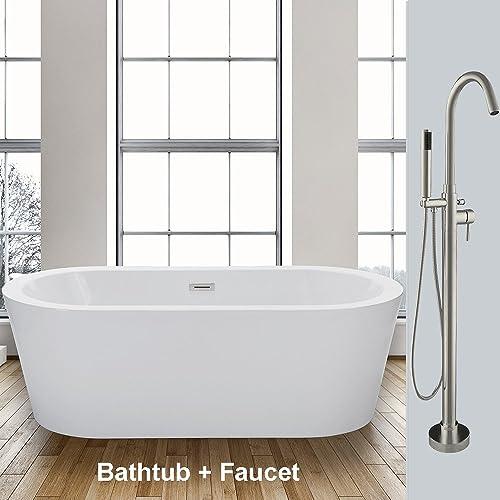 WOODBRIDGE Acrylic Freestanding Bathtub Soaking Tub Brushed Nickel F-0001, 59 B-0012 with Faucet