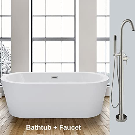 Woodbridge 59 Acrylic Freestanding Bathtub Soaking Tub Brushed