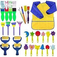 Toyvian Juego de Pinceles de Pintura con Sello Creativo para Manualidades, Pinceles de Pintura, Herramientas de Dibujo para niños, Incluye 1 Pintura, 29 Piezas (Color al Azar)