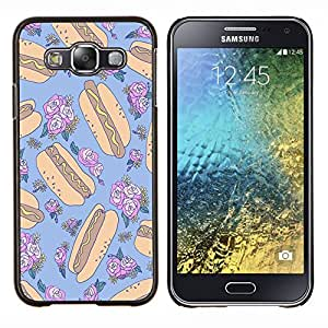 Dragon Case - FOR Samsung Galaxy E5 E500 - hotdog crazy floral random blue food - Caja protectora de pl??stico duro de la cubierta Dise?¡Ào Slim Fit