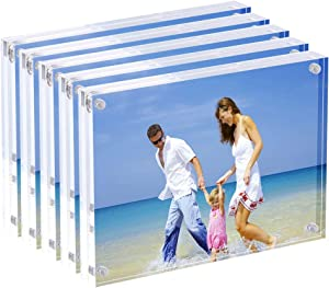 AmeiTech Acrylic Photo Frames,3.5x5'' Double Sided Magnetic Picture Frame, Desktop Frameless Postcard Display (5 Pack)