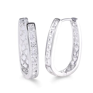 GULICX CZ Crystal Hoop Stud Earrings White Gold Plated Silver Tone Channel Setting - Diameter 23mm IWU2Wrimq