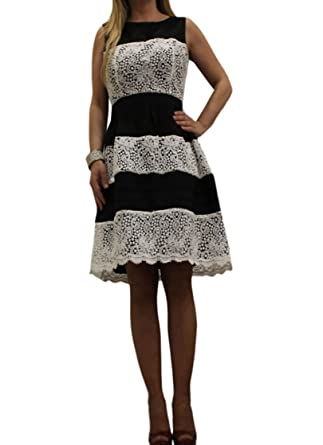 Vestiti Cerimonia 44.Artigli Abito Vestito Donna Elegante Cerimonia Corto Bianco E Nero