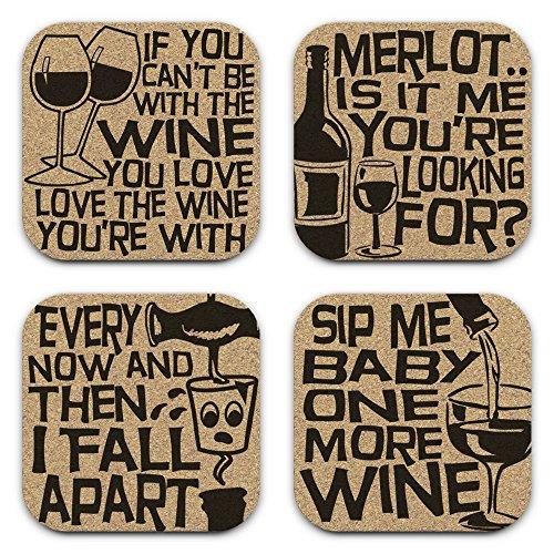 Traditional Conversation Set (Funny Drunk Lyrics Wine Coasters - Gift Set of 4)