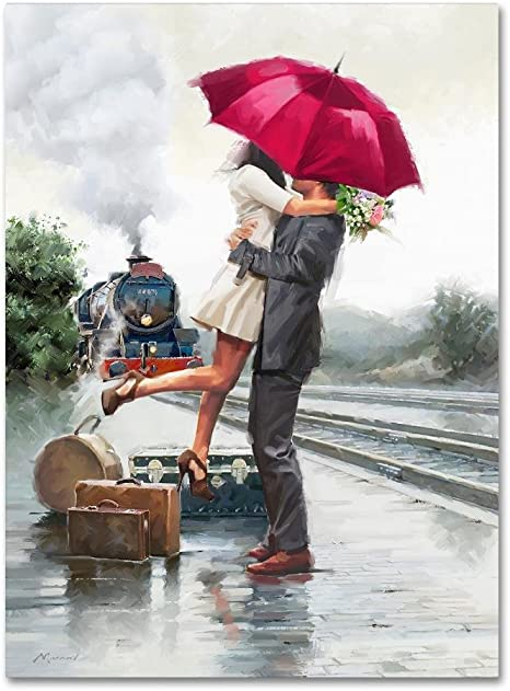 Amazon Com Couple On Train Station By The Macneil Studio 35x47 Inch Canvas Wall Art Posters Prints