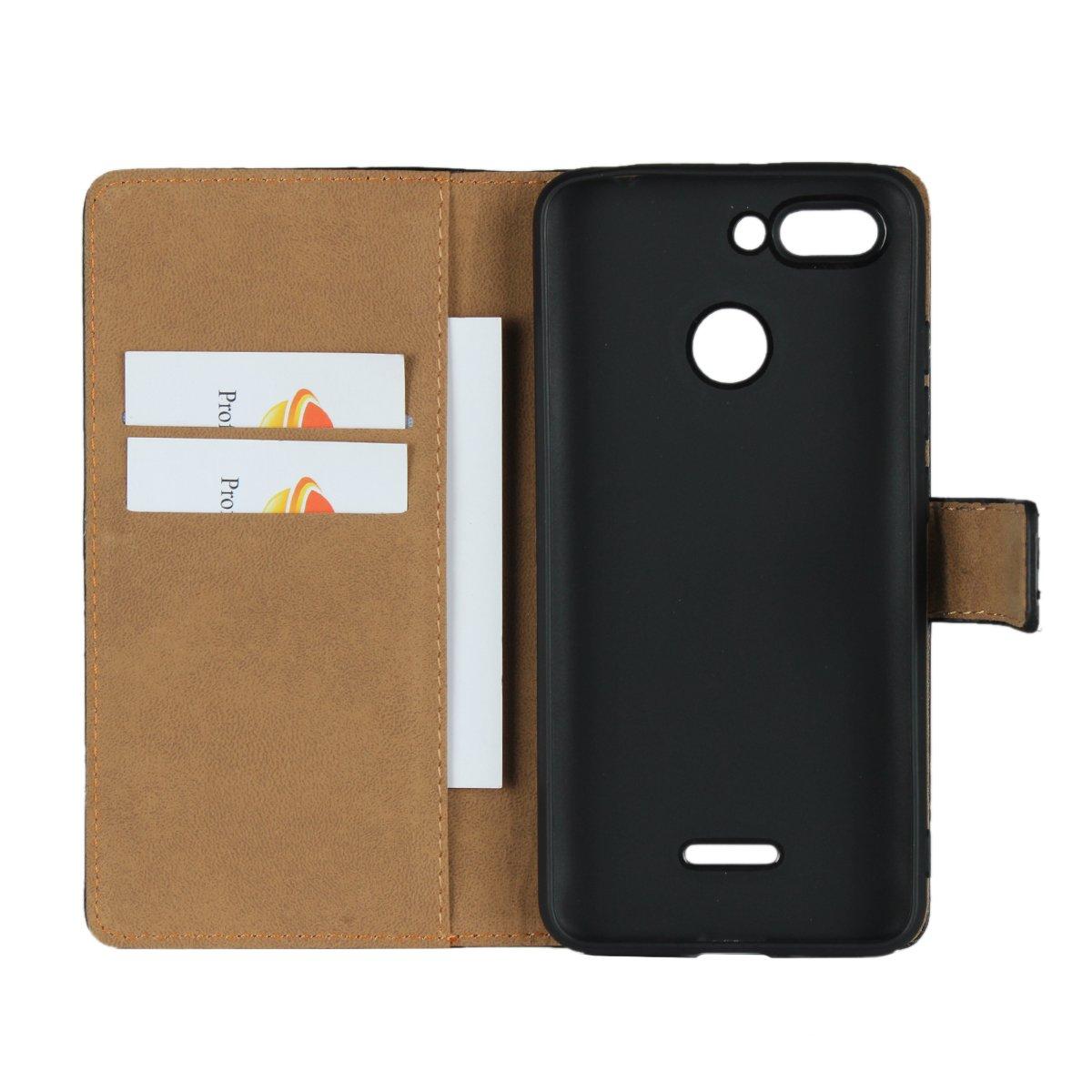 Aopan Xiaomi Redmi 6 Funda, Flip Funda de Cuero Genuina Piel Carcasa para Xiaomi Redmi 6, Negro: Amazon.es: Electrónica