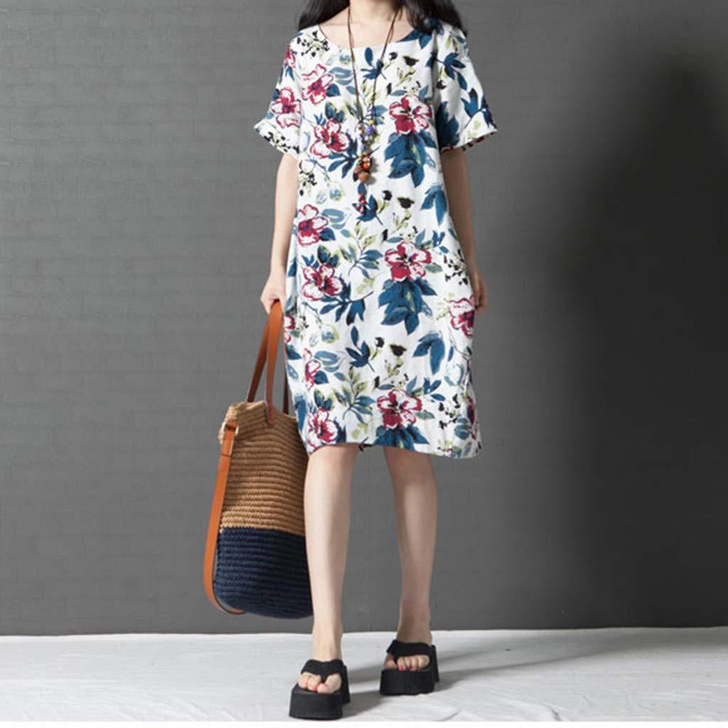 WEISUN Women Cotton Linen Dress Summer Casual Short Sleeve Dresses O-Neck Plus Size Print Dress with Pockets White by WEISUN (Image #5)