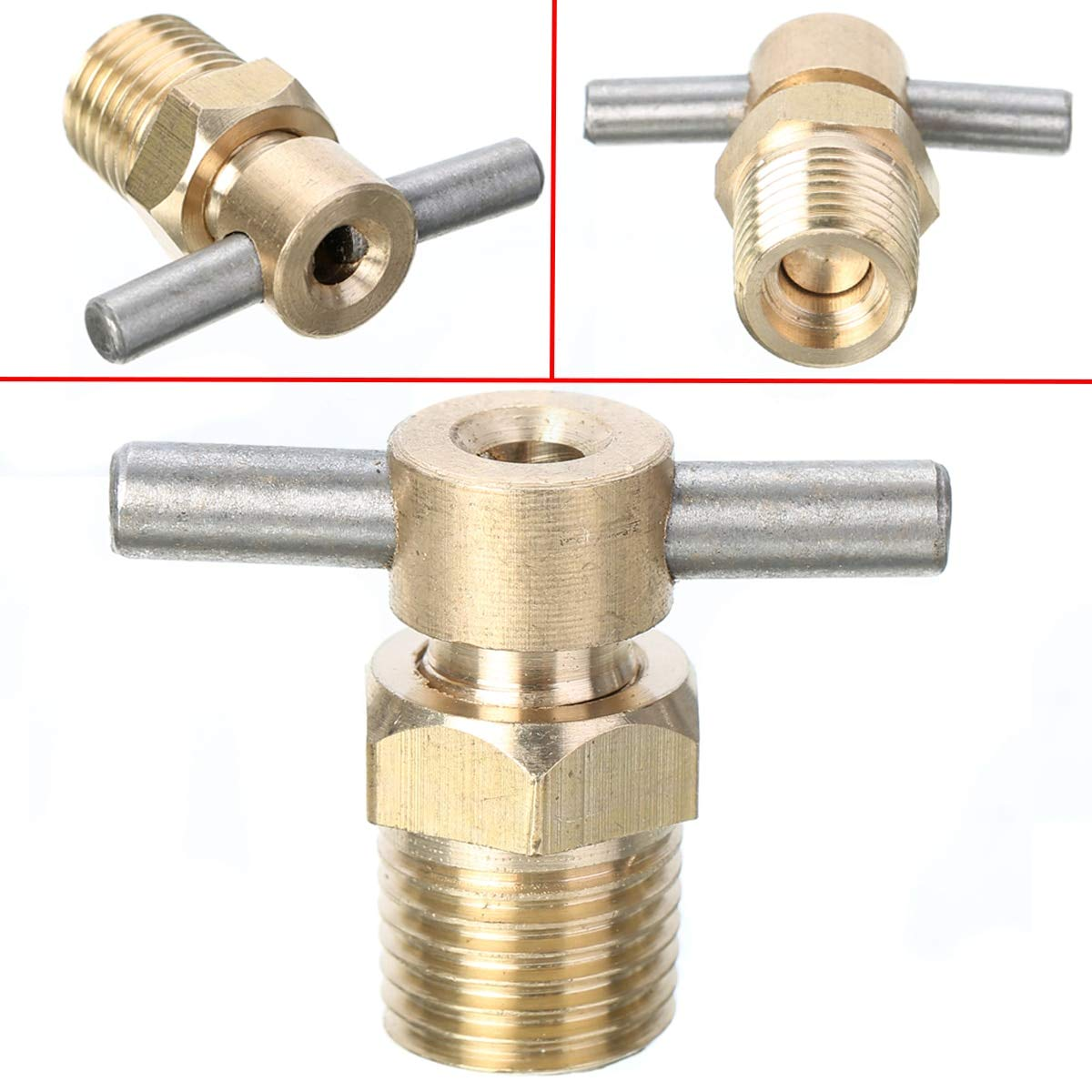 Fincos Durable 1//4 Inch NPT Brass Drain Valve Air Compressor Drain Valve for Air Compressor Tank Replacement Part