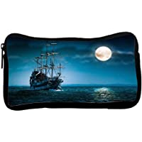 Snoogg Cool Ship In Sea Poly Canvas Student Pen Pencil Case Coin Purse Utility Pouch