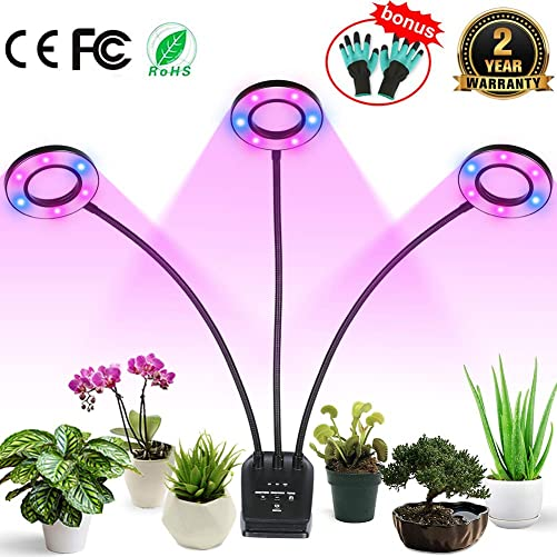 Professional Grow Light, Full Spectrum LED Plant Light for Indoor Plants, 4 8 12H Auto ON Off Timer, 8 Dimmable 36W Triple Heads Growing Lamp for Garden Seeds Herbs Succulents Orchids Hydroponics