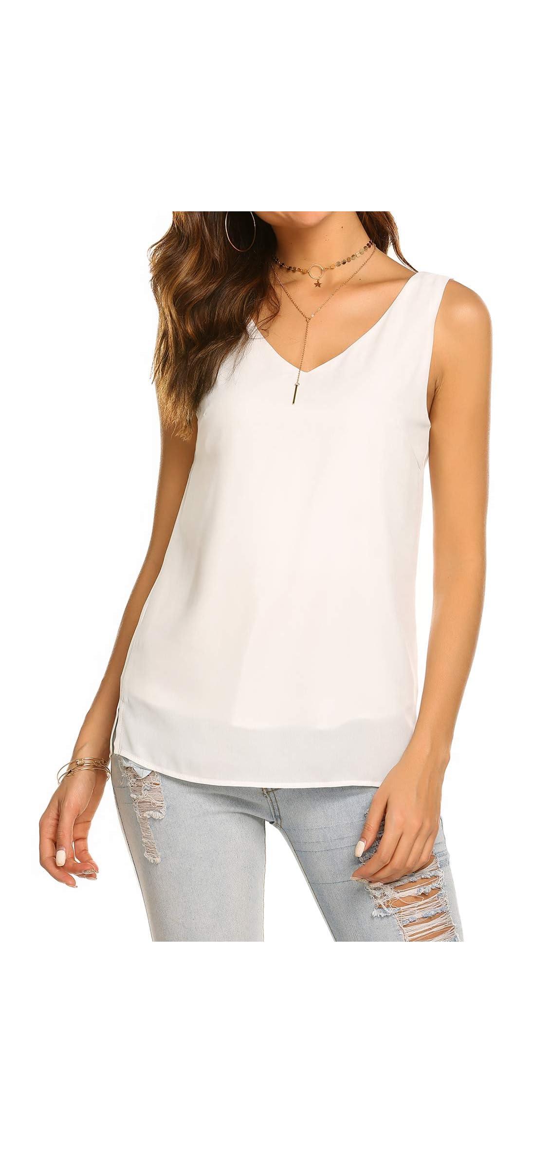 Women Summer Sleeveless Chiffon V Neck T Shirt Casual
