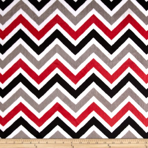 Shannon Fabrics Minky Cuddle Zig Zag/Black/Snow Fabric by The Yard, Red (Zag Zig The Yard Fabric By)