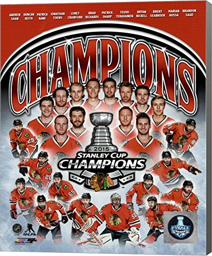 Chicago Blackhawks 2015 Stanley Cup Champions Composite Canvas Art Wall Picture, Museum Wrapped with Gray Sides, 8 x 10 inches