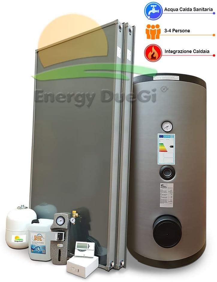 Kit Sistema Solar Térmico Circulación soldada para producción Agua Caliente Sanitaria, 3–4personas, Tetera 300L, FKS