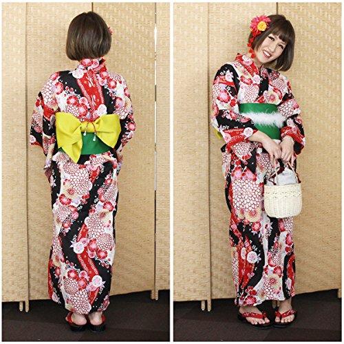 編集者クローン強調する女物浴衣黒×白×赤(菊と桜)女浴衣 レディース