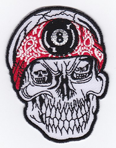 (Iron on Patch Embroidered Patches Application Crazy Skull with Bandana and Black Eight Day of the Dead Biker MC)