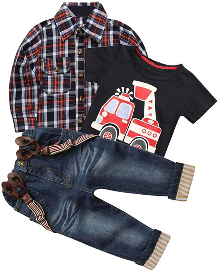 MYGBCPJS 3Pcs Boy Handsome Outfit Set Plaid Shirt + T-Shirt...