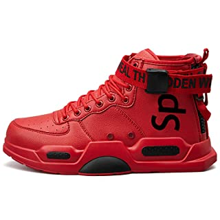 Ahico Mens Fashion Sneakers High Top Walking Shoes Sport Athletic Casual Shoe Vogue Stylish Men Red