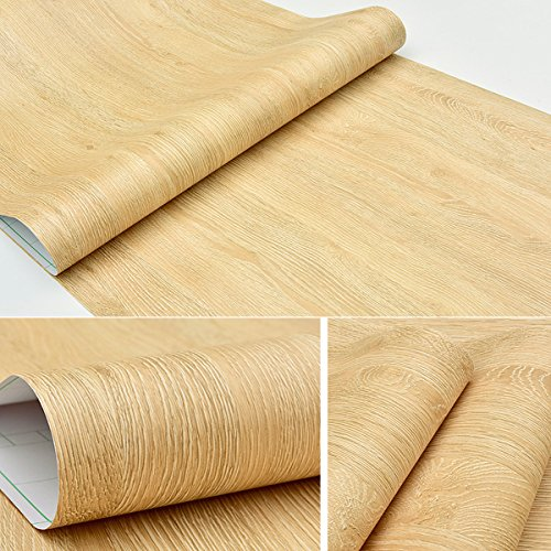 Self Adhesive Faux Yellow Oak Wood Grain Contact Paper for Kitchen Cabinets Shelves Drawer Cupboards Table Desk Arts and Crafts Decal 24x117 Inches