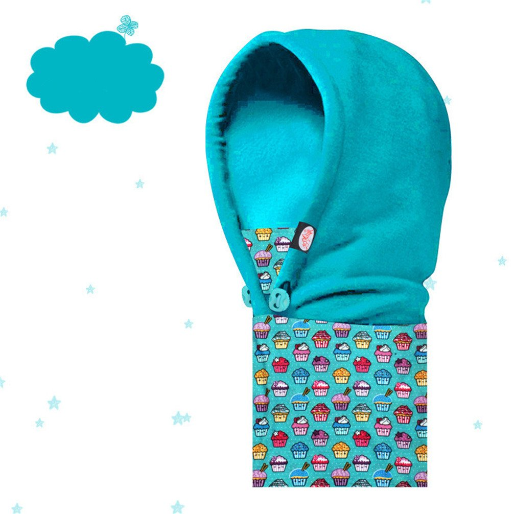 AONIJIE Children Kids Outdoors Skiing Cycling Winter Hats Fleece Beanies Hat Caps Face Mask Balaclavas Light Blue