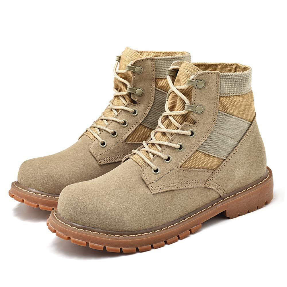 HILOTU Botas de Tobillo para Hombres jóvenes Personalidad Casual OX Cuero Gran tamaño Suede High Top Zapatos de Trabajo (Color : Cream-Coloured, ...