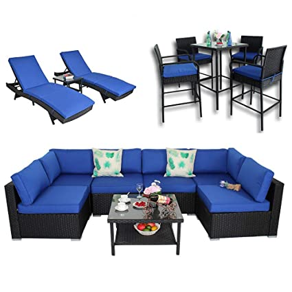 Outime Patio Garden Big Sectional Black Rattan Furniture Set | 7 Piece-B Sofa | 3 Piece Lounge Chaise | 5 Piece Bar Set(15 Piece, Royal Blue)