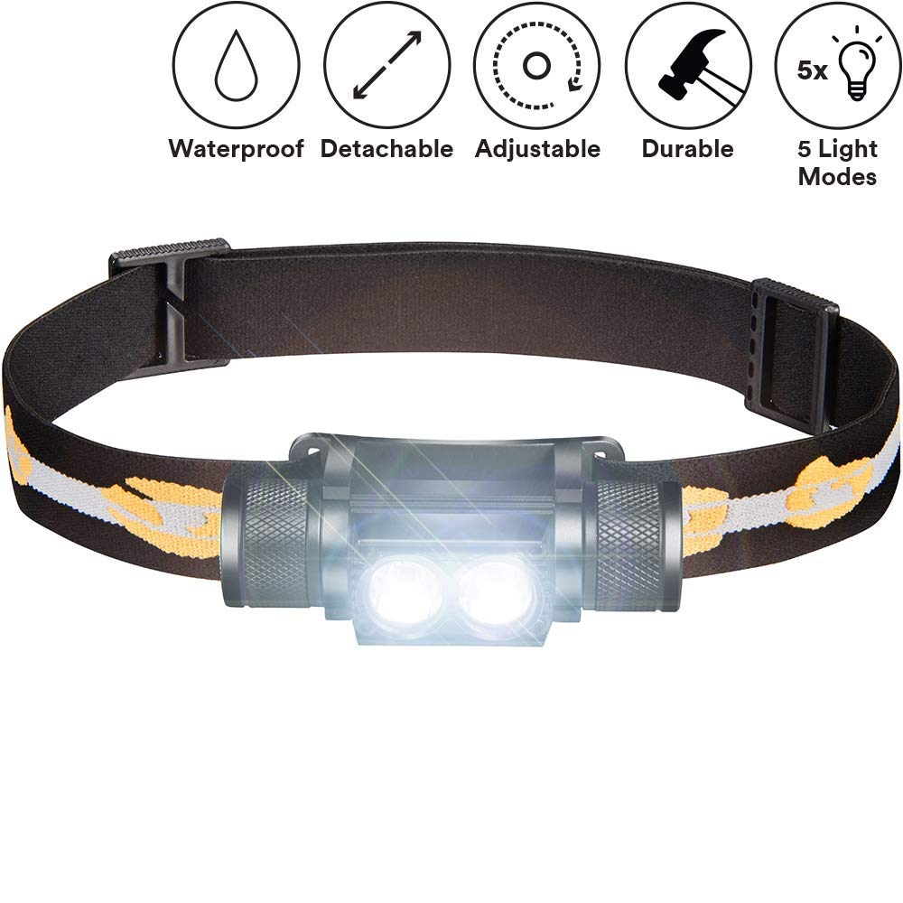 SLONIK 1000 Lumen Rechargeable 2x CREE LED Headlamp w/ 2200 mAh Battery - Lightweight, Durable, Waterproof and Dustproof Headlight - Amazing 220-yards Beam - Great as Camping and Hiking Gear by SLONIK
