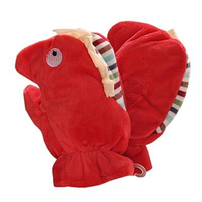 1 Pair Kids' Winter Glove Villus Mittens Haling Hands(0-3 Years)Hippo Red