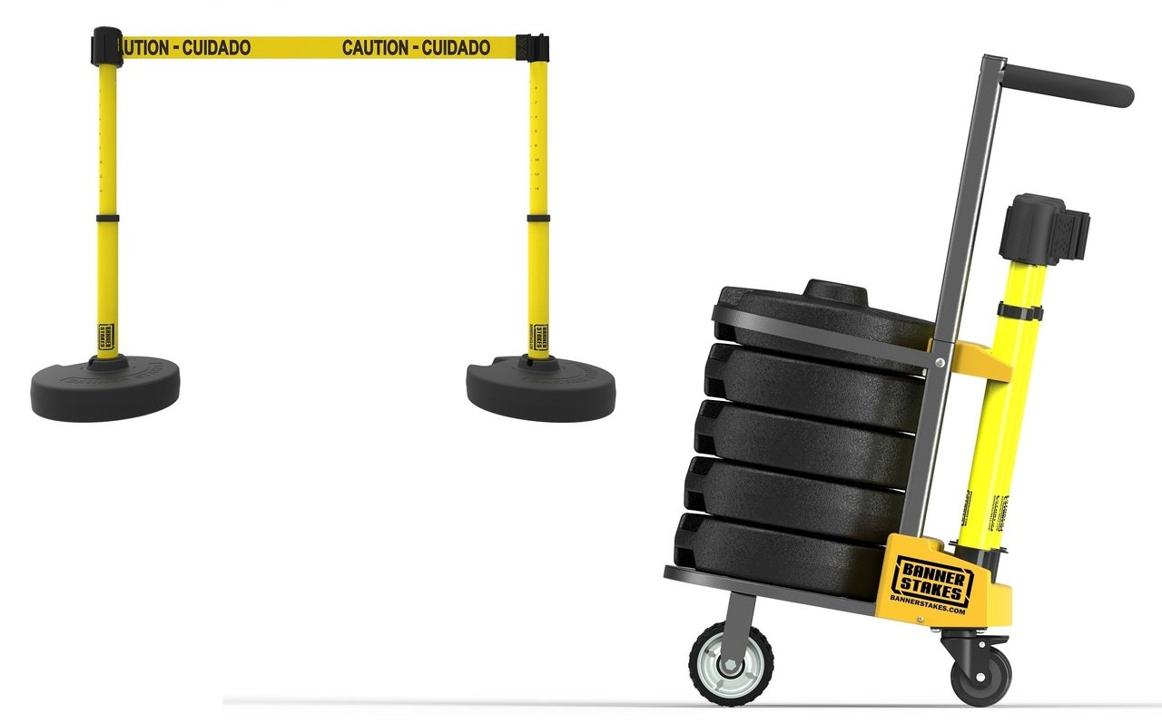 PLUS Cart Package, Yellow ''Caution-Cuidado'' Banner PL4002