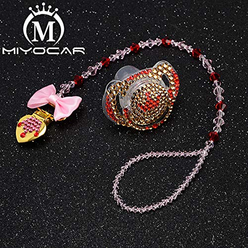 Amazon.com  MIYOCAR custom name bling heart pacifier clip personalized  pacifier holder dummy clip with bling pacifier set unique gift SP007   Handmade 0fb8007884c6